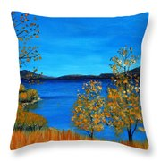 Golden Autumn Throw Pillow by Anastasiya Malakhova