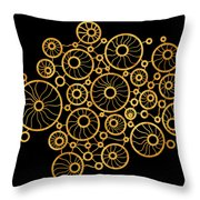 Golden Circles Black Throw Pillow by Frank Tschakert