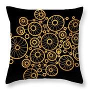 Golden Circles Black Throw Pillow by Frank Tschakert