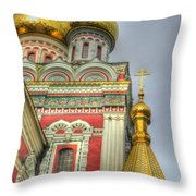 Golden Domes Of Russian Church Throw Pillow by Eti Reid