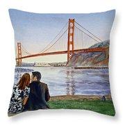 Golden Gate Bridge San Francisco - Two Love Birds Throw Pillow by Irina Sztukowski