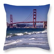 Golden Gate Bridge - Seen From Baker Beach Throw Pillow by Melanie Viola