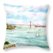 Golden Gate Bridge View From Point Bonita Throw Pillow by Irina Sztukowski