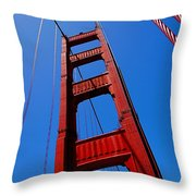 Golden Gate Tower Throw Pillow by Rona Black