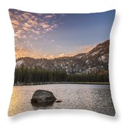 Golden Gunsight Peak Throw Pillow by Robert Bales