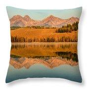 Golden Mountains  Reflection Throw Pillow by Robert Bales