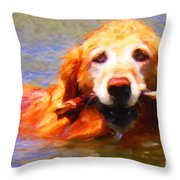 Golden Retriever - Painterly Throw Pillow by Wingsdomain Art and Photography