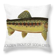 Golden Trout of Soda Creek Throw Pillow by Aged Pixel