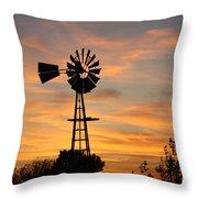 Golden Windmill Silhouette Throw Pillow by Robert D  Brozek