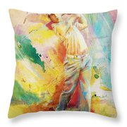 Golf Action 01 Throw Pillow by Catf