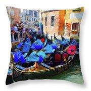 Gondolas Throw Pillow by Jeff Kolker