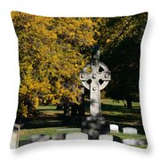 Graceland Cemetery Chicago - Tomb of John W Root Throw Pillow by Christine Till