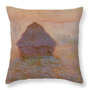 Grainstack  Sun In The Mist Throw Pillow by Claude Monet