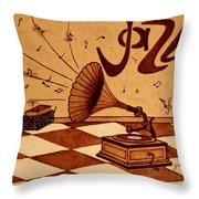 Gramophone Playing Jazz Music Painting With Coffee Throw Pillow by Georgeta  Blanaru