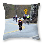 Gran Fondo Bike Ride Throw Pillow by Susan Leggett