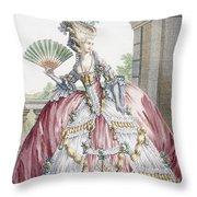 Grand Robe A La Francais, Engraved Throw Pillow by Claude Louis Desrais