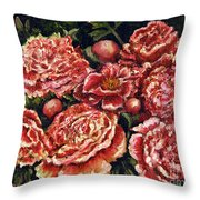 Grandma Lights Peonies Throw Pillow by Linda Simon