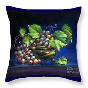 Grapes In A Footed Bowl Throw Pillow by Jane Bucci