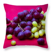 Grapes White And Red Throw Pillow by Alexander Senin