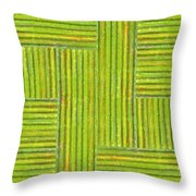 Grassy Green Stripes Throw Pillow by Michelle Calkins