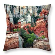 Gray And Orange Sedona Cliff Throw Pillow by Carol Groenen