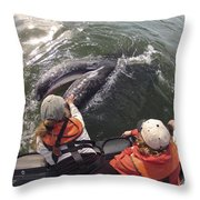 Gray Whale Calf And Tourists Baja Throw Pillow by Flip Nicklin