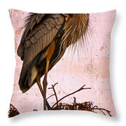 Great Blue Heron Throw Pillow by Debra and Dave Vanderlaan