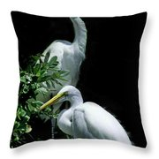 Great Egret Pair Throw Pillow by Skip Willits