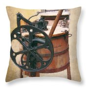 Great-grandmother's Washing Machine Throw Pillow by Daniel Hagerman