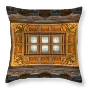 Great Hall Ceiling Library Of Congress Throw Pillow by Steve Gadomski
