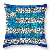 Greek Flag - Greece Stone Rock'd Art By Sharon Cummings Throw Pillow by Sharon Cummings