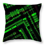 Green And Black In Abstract Geometry Art Throw Pillow by Mario Perez