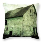 Green Barn Throw Pillow by Julie Hamilton