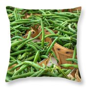 Green Beans In Baskets At Farmers Market Throw Pillow by Teri Virbickis