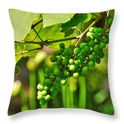 Green Berries Throw Pillow by Kaye Menner