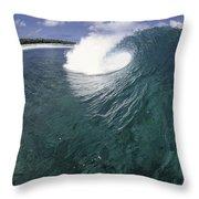 Green Curl Throw Pillow by Sean Davey
