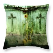 Green Doors Throw Pillow by Gothicolors Donna