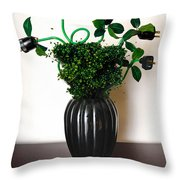 Green Energy Floral Arrangement Of Electrical Plugs Throw Pillow by Amy Cicconi