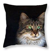 Green Eyes Throw Pillow by Stelios Kleanthous