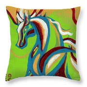 Green Horse Throw Pillow by Genevieve Esson