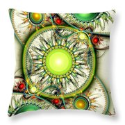 Green Jewelry Throw Pillow by Anastasiya Malakhova
