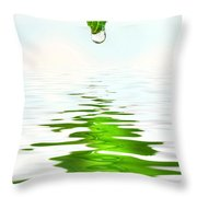 Green Leaf Over Water Reflection Throw Pillow by Sandra Cunningham