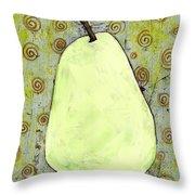 Green Pear Art With Swirls Throw Pillow by Blenda Studio