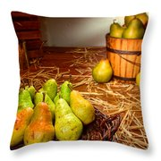 Green Pears In Rustic Basket Throw Pillow by Olivier Le Queinec