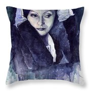 Greta Garbo Throw Pillow by Yuriy  Shevchuk