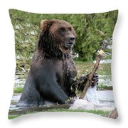 Grizzly Bear 6 Throw Pillow by Thomas Woolworth