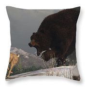 Grizzly Bear Chasing Rabbit Throw Pillow by Daniel Eskridge