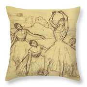 Group Of Dancers Throw Pillow by Edgar Degas