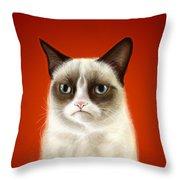 Grumpy Cat Throw Pillow by Olga Shvartsur