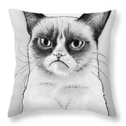 Grumpy Cat Portrait Throw Pillow by Olga Shvartsur